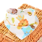 3 PCS Newborn Baby Bibs Cotton Soft Baby Smock Bibs(Lion Zebra)