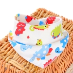 3 PCS Newborn Baby Bibs Cotton Soft Baby Smock Bibs(Colorful Dinosaur)
