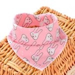 3 PCS Newborn Baby Bibs Cotton Soft Baby Smock Bibs(Pink Rabbit)