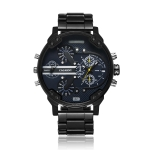 CAGARNY 6820 Fashionable Business Style Large Dial Dual Time Zone Quartz Movement Wrist Watch with Stainless Steel Band & Calendar Function for Men((Black Steel Band Blue Window)