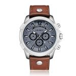 CAGARNY 6882 Fashion Waterproof Polychromatic Metal Shell Leather Wristband(Silver)