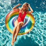 Rainbow Pattern Inflatable Swimming Ring Thickening Water Ring Lifesaving Ring Suitable for Adults, Size: 90cm