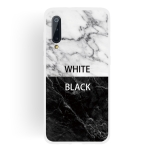 Black and White Text Matte Semi-transparent TPU Marble Mobile Phone Case for Xiaomi Mi 9