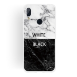 Black and White Text Matte Semi-transparent TPU Marble Mobile Phone Case for Xiaomi Redmi Note 7