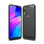 Brushed Texture Carbon Fiber TPU Case for Xiaomi Redmi 7 (Black)