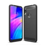 Brushed Texture Carbon Fiber TPU Case for Xiaomi Redmi 7 (Black)