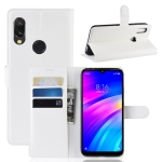 Litchi Texture Horizontal Flip Leather Case for Xiaomi Redmi 7, with Wallet & Holder & Card Slots (White)