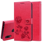 Rose Embossed Horizontal Flip PU Leather Case for Xiaomi Redmi 7, with Holder & Card Slots & Wallet (Red)