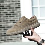 Fashion Wear Resistant Outdoor Sport Pigskin Upper Casual Shoes for Men (Color:Khaki Size:44)