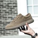 Fashion Wear Resistant Outdoor Sport Pigskin Upper Casual Shoes for Men (Color:Khaki Size:44)