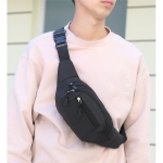 Pure Color Multi-function Pockets Waterproof Chest Bag Waist Sports Bag (Black)