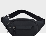 Pure Color Multi-function Pockets Waterproof Chest Bag Waist Crossbody Sports Bag (Black)