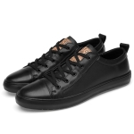 Round Head Solid Color First Layer Cowhide + Microfiber Inner Casual Shoes for Men (Color:Black Size:41)
