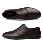 First Layer Cowhide + Microfiber Inner Solid Color Business Formal Casual Shoes for Men (Color:Brown Size:38)