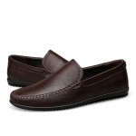 Round Head Wear Resistant Solid Color Casual Shoes for Men (Color:Brown Size:37)