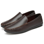 Soft and Comfortable Solid Color Casual Shoes for Men (Color:Brown Size:37)