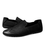 First Layer Cowhide Solid Color Casual Shoes for Men (Color:Black Size:41)