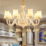 Bedroom Restaurant Modern Simple Porch Crystal Chandelier without Bulbs, 8 Heads
