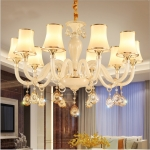 Bedroom Restaurant Modern Simple Porch Crystal Chandelier with Bulbs, 10 Heads