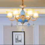 Living Room Zinc Alloy Home Restaurant Bedroom Atmospheric French Crystal Chandelier with Bulbs, 6 Heads