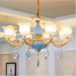 Living Room Zinc Alloy Home Restaurant Bedroom Atmospheric Crystal Chandelier with Bulbs, 8 Heads