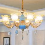 Living Room Zinc Alloy Home Restaurant Bedroom Atmospheric Crystal Chandelier with Bulbs, 8 Heads