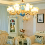 Living Room Zinc Alloy Home Restaurant Bedroom Atmospheric Crystal Chandelier with Bulbs, 15 Heads