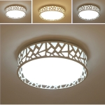 Round Wrought Iron Personality Living Room Modern Minimalist Warm Bedroom Room Dining Room LED Ceiling Lamp, Diameter: 42cm, Stepless Dimming + Remote Control