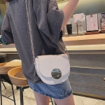 PU Leather Single Shoulder Bag Ladies Handbag Messenger Bag (White)