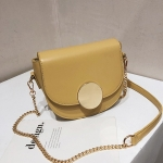 PU Leather Single Shoulder Bag Ladies Handbag Messenger Bag (Yellow)