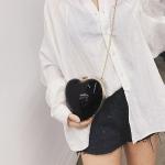 Heart Shaped Chain Single Shoulder Bag Ladies Handbag Messenger Bag (Black)