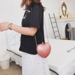 Heart Shaped Chain Single Shoulder Bag Ladies Handbag Messenger Bag (Pink)