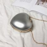 Heart Shaped Chain Single Shoulder Bag Ladies Handbag Messenger Bag (Silver)