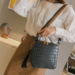 Crocodile Box Style PU Leather Single Shoulder Bag Ladies Handbag Messenger Bag (Black)