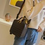 Crocodile Box Style PU Leather Single Shoulder Bag Ladies Handbag Messenger Bag (Coffee)