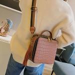 Crocodile Box Style PU Leather Single Shoulder Bag Ladies Handbag Messenger Bag (Brown)