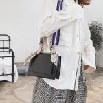 Snake Skin Handle PU Leather Single Shoulder Bag Ladies Handbag Messenger Bag (Black)
