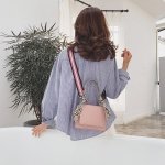 Snake Skin Handle PU Leather Single Shoulder Bag Ladies Handbag Messenger Bag (Pink)