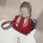 Snake Skin Handle PU Leather Single Shoulder Bag Ladies Handbag Messenger Bag (Red)