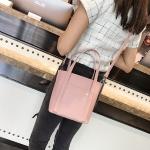 2 in 1 PU Leather Single Shoulder Bag Ladies Handbag Messenger Bag (Pink)