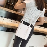 2 in 1 PU Leather Single Shoulder Bag Ladies Handbag Messenger Bag (White)