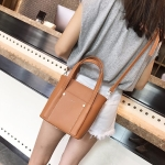 2 in 1 PU Leather Single Shoulder Bag Ladies Handbag Messenger Bag (Brown)