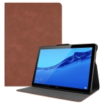 Solid Color Cowhide Texture Horizontal Flip PU Leather Case for Huawei MediaPad T5 10 inch, with Holder (Brown)