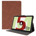 Solid Color Cowhide Texture Horizontal Flip PU Leather Case for Huawei MediaPad M5 Lite 10.1 inch, with Holder & Sleep / Wake-up Function (Brown)