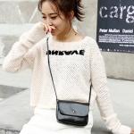 Magnetic Buckle Oil PU Leather Single Shoulder Bag Ladies Handbag Messenger Bag (Black)