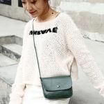 Magnetic Buckle Oil PU Leather Single Shoulder Bag Ladies Handbag Messenger Bag (Green)