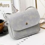 Magnetic Buckle Oil PU Leather Single Shoulder Bag Ladies Handbag Messenger Bag (Grey)