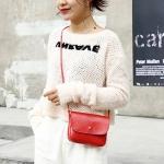 Magnetic Buckle Oil PU Leather Single Shoulder Bag Ladies Handbag Messenger Bag (Red)