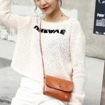 Magnetic Buckle Oil PU Leather Single Shoulder Bag Ladies Handbag Messenger Bag (Brown)