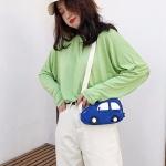 Car-shape Corduroy Single Shoulder Bag Ladies Handbag Messenger Bag (Blue)